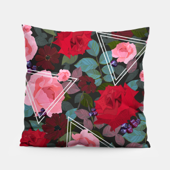 Thumbnail image of Triangles with vintage red pink roses and chocalate cosmos flower pattern Pillow, Live Heroes