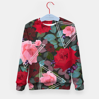 Thumbnail image of Triangles with vintage red pink roses and chocalate cosmos flower pattern Kid's sweater, Live Heroes