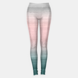 Thumbnail image of Touching Teal Blush Gray Watercolor Abstract #1 #painting #decor #art  Leggings, Live Heroes