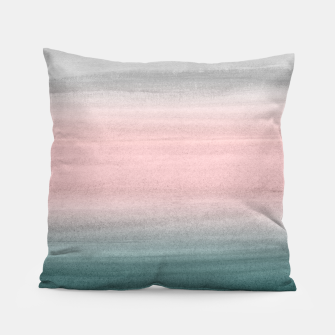 Thumbnail image of Touching Teal Blush Gray Watercolor Abstract #1 #painting #decor #art  Kissen, Live Heroes