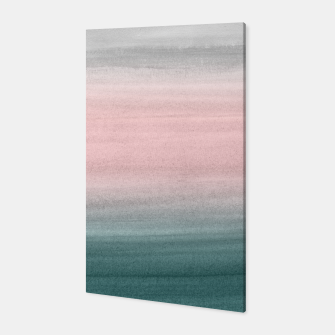 Thumbnail image of Touching Teal Blush Gray Watercolor Abstract #1 #painting #decor #art  Canvas, Live Heroes