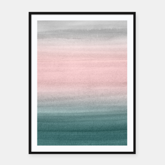 Thumbnail image of Touching Teal Blush Gray Watercolor Abstract #1 #painting #decor #art  Plakat mit rahmen, Live Heroes