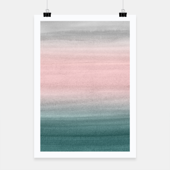Thumbnail image of Touching Teal Blush Gray Watercolor Abstract #1 #painting #decor #art  Plakat, Live Heroes