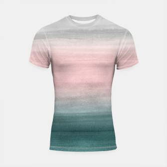 Miniaturka Touching Teal Blush Gray Watercolor Abstract #1 #painting #decor #art  Shortsleeve rashguard, Live Heroes