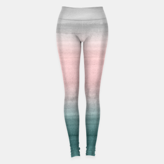 Miniaturka Touching Teal Blush Gray Watercolor Abstract #1 #painting #decor #art  Leggings, Live Heroes