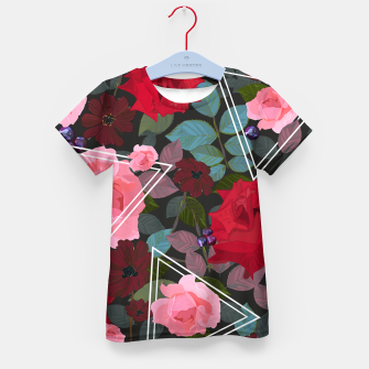 Thumbnail image of Triangles with vintage red pink roses and chocalate cosmos flower pattern Kid's t-shirt, Live Heroes