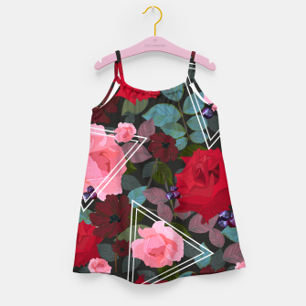 Miniature de image de Triangles with vintage red pink roses and chocalate cosmos flower pattern Girl's dress, Live Heroes