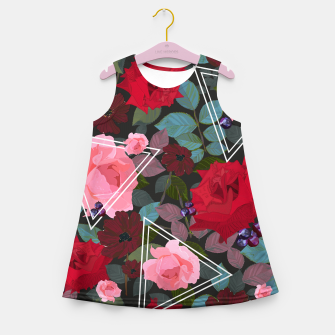 Thumbnail image of Triangles with vintage red pink roses and chocalate cosmos flower pattern Girl's summer dress, Live Heroes