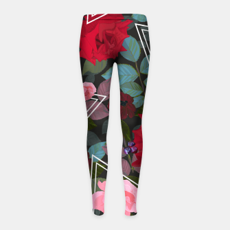 Thumbnail image of Triangles with vintage red pink roses and chocalate cosmos flower pattern Girl's leggings, Live Heroes