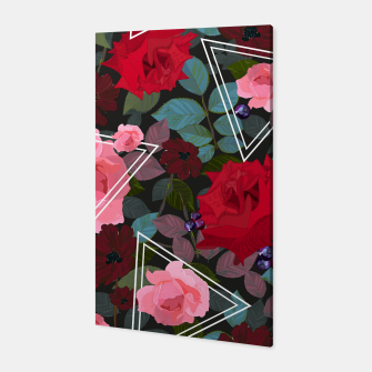 Thumbnail image of Triangles with vintage red pink roses and chocalate cosmos flower pattern Canvas, Live Heroes