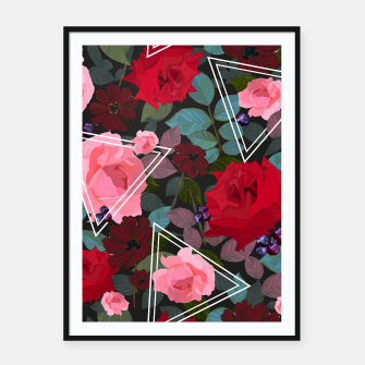Thumbnail image of Triangles with vintage red pink roses and chocalate cosmos flower pattern Framed poster, Live Heroes