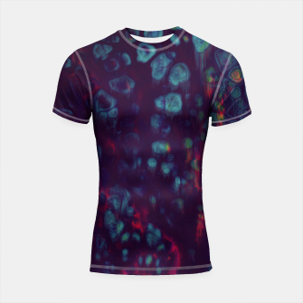 Thumbnail image of Synthwave - Abstract Glitchy Pixel Art Shortsleeve rashguard, Live Heroes
