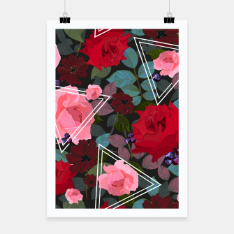 Thumbnail image of Triangles with vintage red pink roses and chocalate cosmos flower pattern Poster, Live Heroes