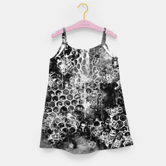Thumbnail image of gxp bees fill honeycombs in hive splatter watercolor black white Girl's dress, Live Heroes