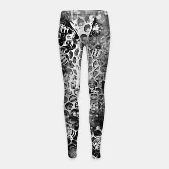 Thumbnail image of gxp bees fill honeycombs in hive splatter watercolor black white Girl's leggings, Live Heroes
