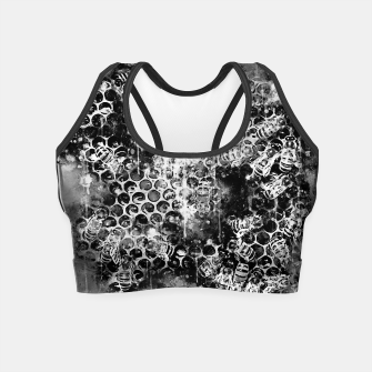 Miniaturka gxp bees fill honeycombs in hive splatter watercolor black white Crop Top, Live Heroes