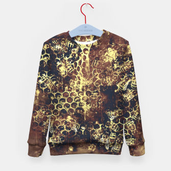 Imagen en miniatura de gxp bees fill honeycombs in hive splatter watercolor old brown Kid's sweater, Live Heroes