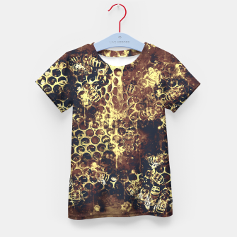 Imagen en miniatura de gxp bees fill honeycombs in hive splatter watercolor old brown Kid's t-shirt, Live Heroes