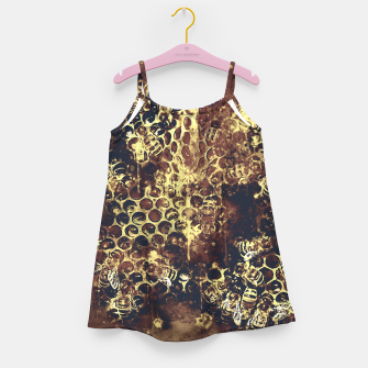 Imagen en miniatura de gxp bees fill honeycombs in hive splatter watercolor old brown Girl's dress, Live Heroes