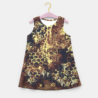 Imagen en miniatura de gxp bees fill honeycombs in hive splatter watercolor old brown Girl's summer dress, Live Heroes