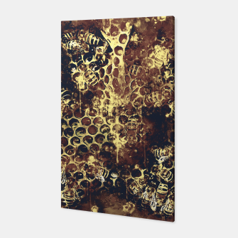 Imagen en miniatura de gxp bees fill honeycombs in hive splatter watercolor old brown Canvas, Live Heroes