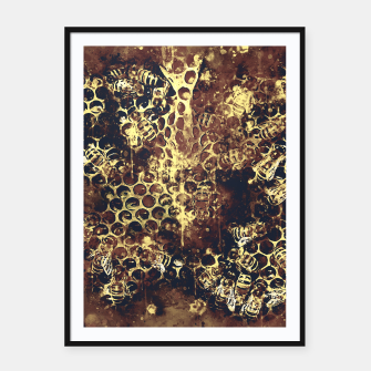 Imagen en miniatura de gxp bees fill honeycombs in hive splatter watercolor old brown Framed poster, Live Heroes