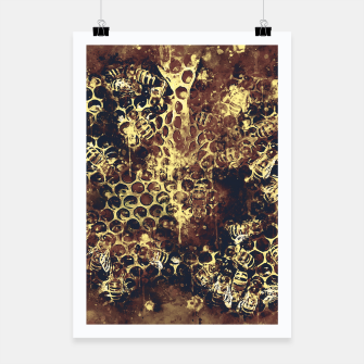 Imagen en miniatura de gxp bees fill honeycombs in hive splatter watercolor old brown Poster, Live Heroes