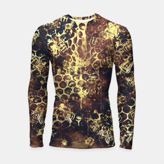 Imagen en miniatura de gxp bees fill honeycombs in hive splatter watercolor old brown Longsleeve rashguard , Live Heroes