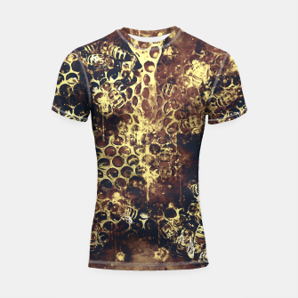 Imagen en miniatura de gxp bees fill honeycombs in hive splatter watercolor old brown Shortsleeve rashguard, Live Heroes