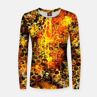 Imagen en miniatura de gxp bees fill honeycombs in hive splatter watercolor Women sweater, Live Heroes