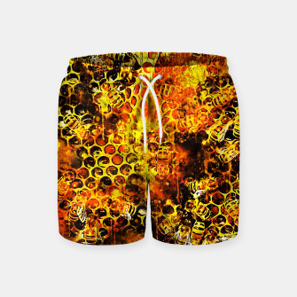 Imagen en miniatura de gxp bees fill honeycombs in hive splatter watercolor Swim Shorts, Live Heroes