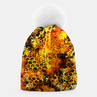 Imagen en miniatura de gxp bees fill honeycombs in hive splatter watercolor Beanie, Live Heroes