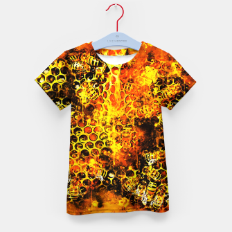 Imagen en miniatura de gxp bees fill honeycombs in hive splatter watercolor Kid's t-shirt, Live Heroes