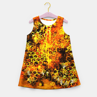 Imagen en miniatura de gxp bees fill honeycombs in hive splatter watercolor Girl's summer dress, Live Heroes