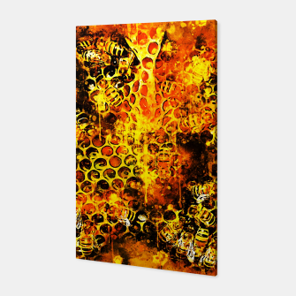 Imagen en miniatura de gxp bees fill honeycombs in hive splatter watercolor Canvas, Live Heroes