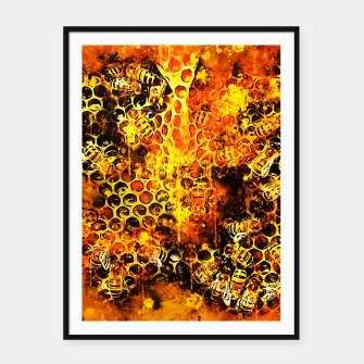 Imagen en miniatura de gxp bees fill honeycombs in hive splatter watercolor Framed poster, Live Heroes