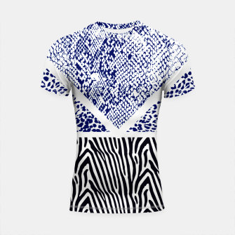 Thumbnail image of Blue Animal print Shortsleeve rashguard, Live Heroes