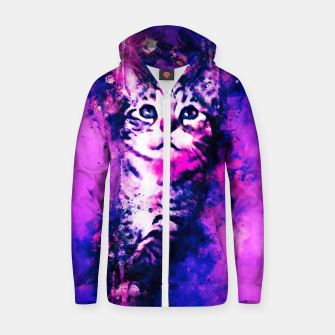 Thumbnail image of gxp pianca baby cat kitten splatter watercolor purple pink Zip up hoodie, Live Heroes