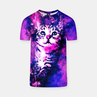 Thumbnail image of gxp pianca baby cat kitten splatter watercolor purple pink T-shirt, Live Heroes
