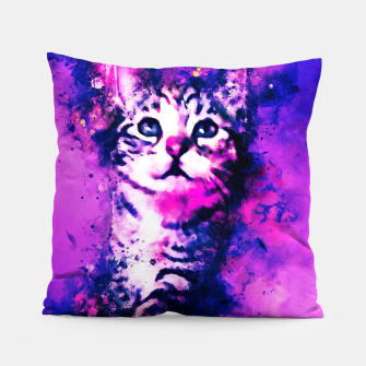 Thumbnail image of gxp pianca baby cat kitten splatter watercolor purple pink Pillow, Live Heroes
