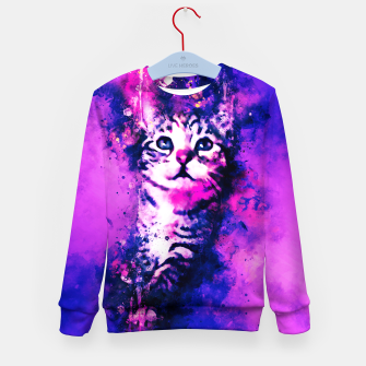 Thumbnail image of gxp pianca baby cat kitten splatter watercolor purple pink Kid's sweater, Live Heroes