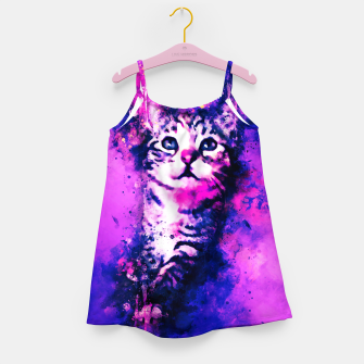 Thumbnail image of gxp pianca baby cat kitten splatter watercolor purple pink Girl's dress, Live Heroes