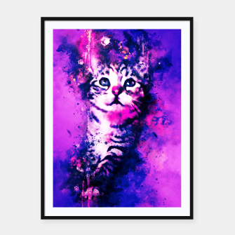 Miniaturka gxp pianca baby cat kitten splatter watercolor purple pink Framed poster, Live Heroes
