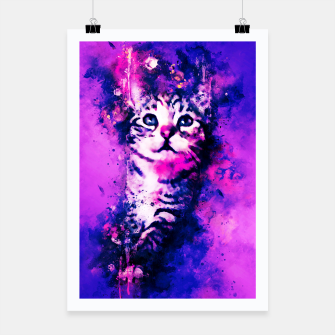 Miniaturka gxp pianca baby cat kitten splatter watercolor purple pink Poster, Live Heroes