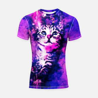 Miniaturka gxp pianca baby cat kitten splatter watercolor purple pink Shortsleeve rashguard, Live Heroes