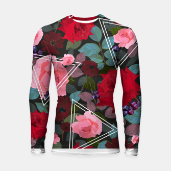 Imagen en miniatura de Triangles with vintage red pink roses and chocalate cosmos flower pattern Longsleeve rashguard , Live Heroes
