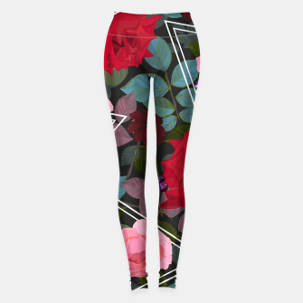 Miniaturka Triangles with vintage red pink roses and chocalate cosmos flower pattern Leggings, Live Heroes