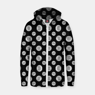Thumbnail image of Black and White Bubbles Print Pattern Zip up hoodie, Live Heroes