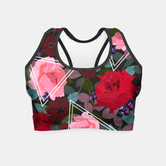 Miniaturka Triangles with vintage red pink roses and chocalate cosmos flower pattern Crop Top, Live Heroes