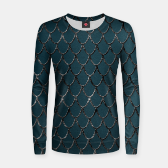 Thumbnail image of Teal Mermaid Scales Glam #1 #shiny #decor #art  Frauen sweatshirt, Live Heroes